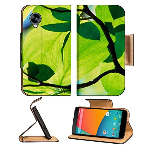 Sunshine Bright Green Tree Leaves Google Nexus 5 Hammerhead Lg Flip Case Stand Magnetic Cover Open Ports Customized Made To Order Support Ready Premium Deluxe Pu Leather 5 11/16 Inch (145Mm) X 2 15/16 Inch (75Mm) X 9/16 Inch (14Mm) Msd Nexus Cover Profess
