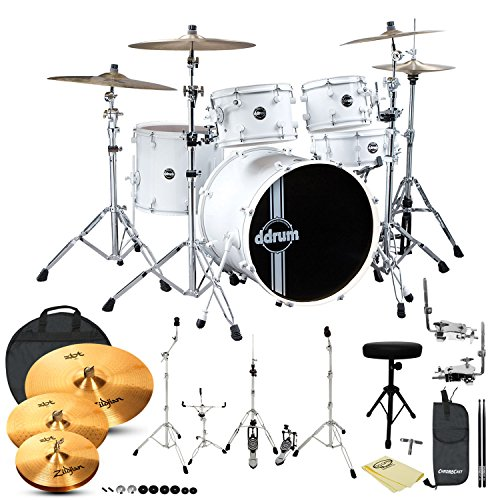 Go-Dps Jf-Reflex-Wht/Wht-22-5Pc-Kit-4 Ddrum Reflex Standard Player 5-Piece Drum Set White Shell Pack With Hardware, Cymbals, Cloth, Throne, Cymbal Bag, Stick Bag And Sticks