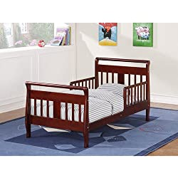 Baby Relax Sleigh Toddler Bed with 2 Side Rails (Cherry)