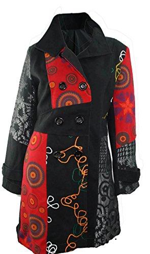 #602 Damen Designer Patchwork Winter Mantel Trenchcoat Wintermantel 36 38 40 42 44 46 (44)