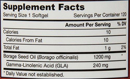 Jarrow Formulas Borage GLA 240 , Supports Women's Health, 1200 mg, 120 Softgels