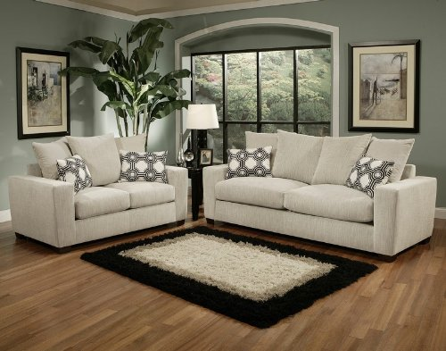 Buy Low Price Benchley 2pc Sofa Loveseat Set Contemporary Multi Throw Pillow Back in Stone (VF_BCL-BROOKLYN)