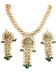 Exotic India Green Linked Necklace And Earrings Set With Cut Glass - Copper Alloy With Cut Glass