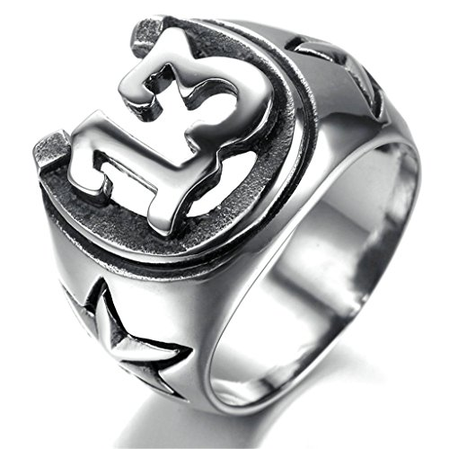 Bishilin Men's Stainless Steel Five-pointed Star Numbers Lucky 13 Biker Ring Size 10 (Buy Man Of Steel)