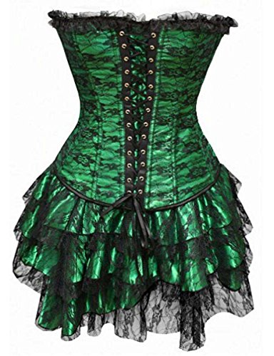 V.C.Formark Women's Lace Up Bustier Tutu Skirt Dress Corset With G-string