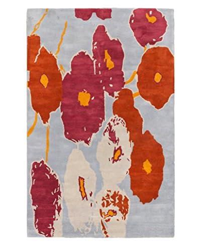 Handmade Luna Rug, Dark Orange/Pale Blue, 5' x 8'