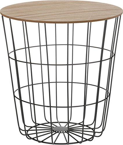 Design-Beistelltisch-Metall-Korb-mit-Holz-Deckel-dekorativer-Sofatisch-inkl-Korbablage