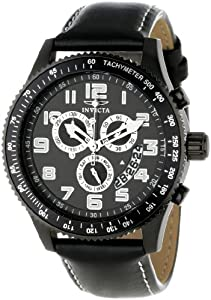 Invicta Men's 11272 Specialty Chronograph Black Dial Black Leather Watch