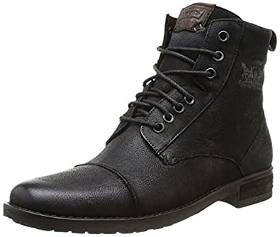 Amazon.com: Levi's Maine Black Leather Mens Lace Up Mid Ankle Leather