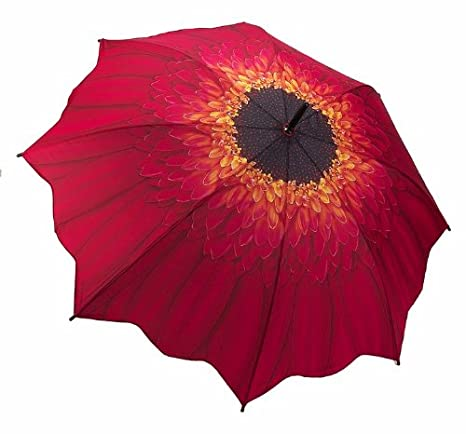 Red Daisy  - Galleria Folding Compact Umbrella - Auto Open/ Auto Close