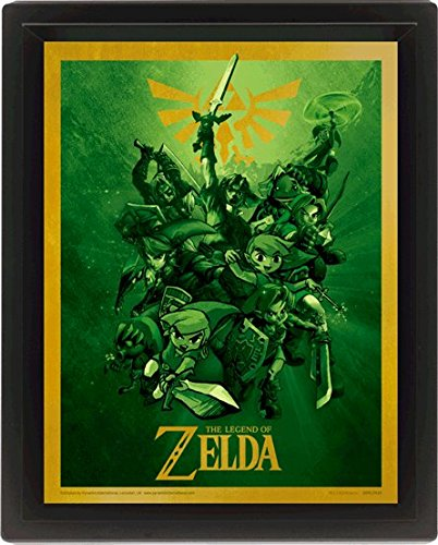 The Legend Of Zelda - Poster 3D con cornice, 25,4 x 20,3 cm, multicolore