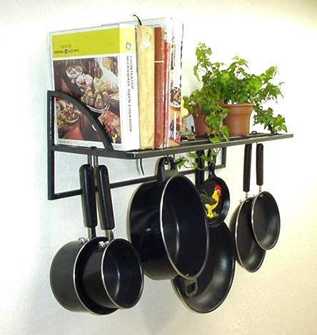 Cheap Wall Bookshelf Pot Pan & Cookware Rack curved ends USA (wbs)