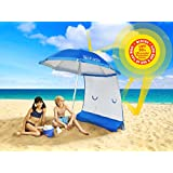 SUPERIOR SUN PROTECTION: ezShade 7' Beach Umbrella with EASY on/off Sunshield Blocks 99% UVA/UVB, DOUBLES Shade & Ultra LIGHTWEIGHT! (Patented)