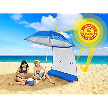 NO MORE CHASING THE SHADE! Ultra LIGHTWEIGHT - under 3.5 lbs - 7 foot umbrella, fiberglass spokes and aluminum pole. The ezShade is the ONLY Umbrella and Sunshield Combo that blocks over 99% of UVA/UVB rays, DOUBLES your SHADE and keeps you COOLER. D...