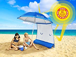 SUPERIOR SUN PROTECTION & Ultra LIGHTWEIGHT (3 lbs) ezShade 6' Beach Umbrella & Sunshield Blocks 99% UVA/UVB, DOUBLES Your Shade and Keeps You COOLER!
