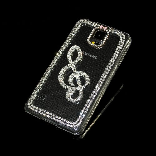Iclover Clear Music Note Bling Crystal Diamand Pc Plastic Hard Case Cover For Samsung Galaxy S5 I9600 G900 Cellphone Accessory