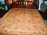 Indian Bedspread-5p Stonewashed Orange Embroidered Cotton King / Queen Bed  ....