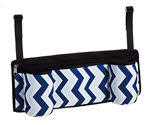 Essential Blue Chevron Stroller Caddy