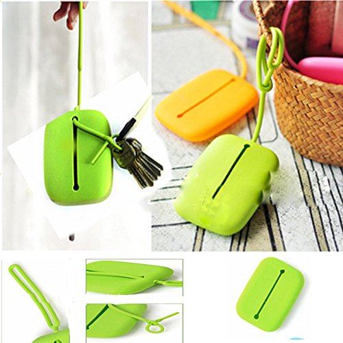 Green Silicone Keyring Key Bag Card Pouch Holder Keyring Pouch Bag Xmas Gift 1X