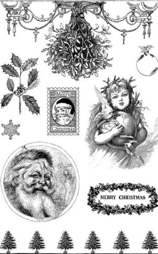 Image of Eco Green Crafts Recycled Rubber Stamps, Christmas Classics