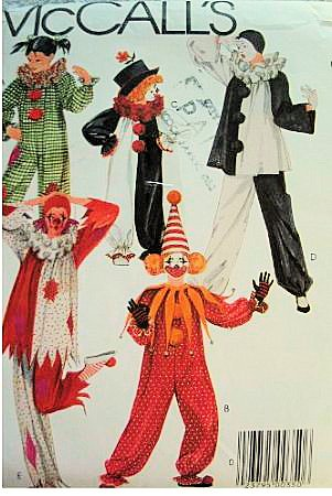 McCall's Costumes 9212 Child Size 6-8 Various Clown Costume Sewing Pattern Vintage (Clown Costume Patterns)