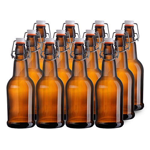 California Home Goods 16 Ounce Glass Brewing Bottles with EZ Caps for Beer, Kombucha, Amber, Reusable (Set of 12) (Chef Bottles With Caps compare prices)