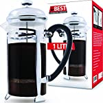 Best French Press Coffee Maker (Ultra Fine Filtration) 1 Liter (34 Ounce) Brews 4 Cups of Coffee, Extra Fine Stainless Steel Filtration, Cafetiere, Extras Included! from Best