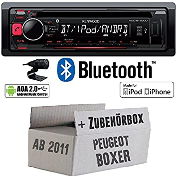 Peugeot Boxer 2 ab 2011 - Kenwood KDC-BT500U - Bluetooth CD/MP3/USB Autoradio - Einbauset