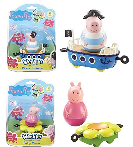 PEPPA PIG WEEBLES BUNDLE - FAIRY PEPPA AND PIRATE GEORGE - 2 ITEMS SUPPLIED (Dispatched From UK)