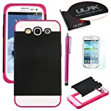 Pandamimi ULAK(TM)Hybrid TPU 2PC Layered Hard Case Rubber Bumper for Samsung Galaxy S3 SIII (At&t / Verizon / US Cellular / Sprint / T-Mobile / Virgin / Boost / MetroPCS / Unlocked) W/1xScreen Protector 1xTouch Stylus (Black PC/Rose Red TPU)