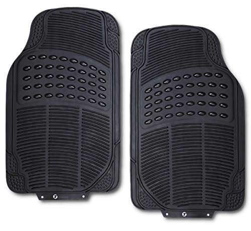 Zone Tech All Weather Rubber Semi Pattern Car Interior Front Floor Mats - 2-Piece Set Back Heavy Duty Car Interior Front Floor Mats (Car Floor Plastic Mats compare prices)