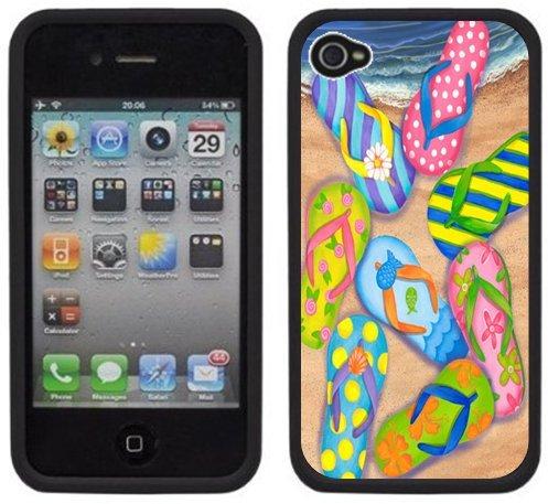 Flip Flops Sandals Handmade Iphone 4 4S Black Hard Plastic Case front-1046460