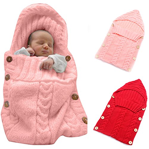 Colorful Newborn Baby Wrap Swaddle Blanket, Oenbopo Baby Kids Toddler Wool Knit Blanket Swaddle Sleeping Bag Sleep Sack Stroller Wrap for 0-12 Month Baby (Pink)