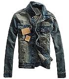 (ベクー)Bekoo メンズ デニム ライダース ジャケット オシャレ ダメージ 加工 gジャン ビンテージ デザイン サイズ M L XL XXL (04 ネイビー XXL)
