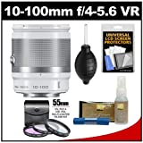 Nikon 1 10-100mm f/4.0-5.6 VR Nikkor-Zoom Lens (White) with 3 UV/FLD/CPL Filters + Accessory Kit