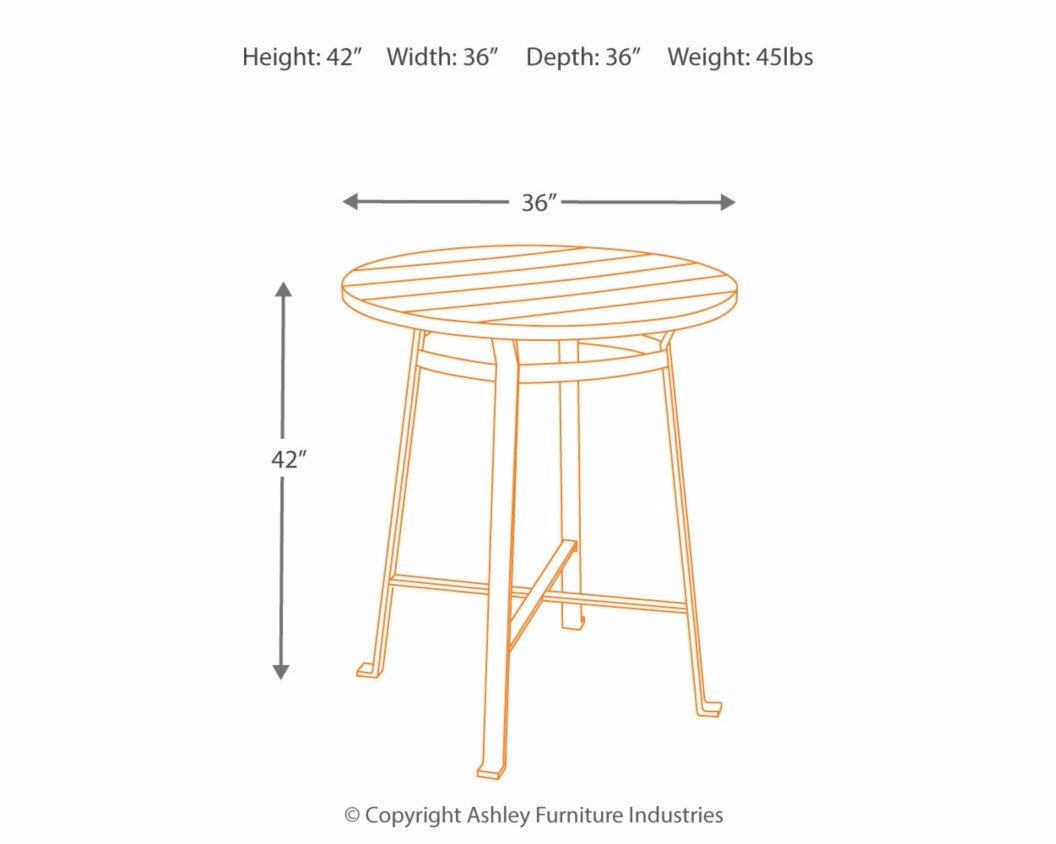 Ashley Furniture Signature Design - Challiman Dining Room Bar Table - Pub Height - Round - Rustic Brown