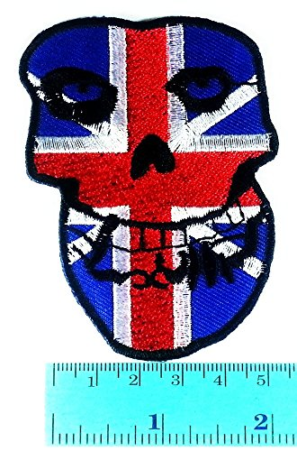 THE MISFITS British Flag Skull Music Band Heavy Metal Punk Rock Jacket T Shirt Patch Sew Iron on Embroidered Symbol Badge Cloth Sign Costume (Misfits British compare prices)