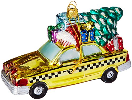 Kurt Adler NYC Checker Taxi with Tree Glass Ornament, 5.35-Inch (Kurt Adler Ornaments New York compare prices)