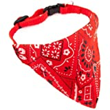 Adjustable Bandanas for Dogs Puppy Pet Products Collars Scarves Pet Accessories (Medium, Red)