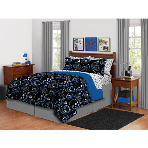 Boys Skull Full Comforter Complete Bed In A Bag Crossbones Skater Pixel Blue Black Gray 8 Piece Set Includes Bedskirt Shams Sheet Set And Comforter