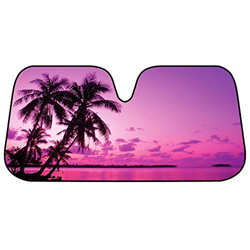Purple & Pink Tropical Island Sunset Auto Sun Shade for Car SUV Truck - Bubble Foil Folding Accordion for Windshield (Purple Window Shade In Auto compare prices)