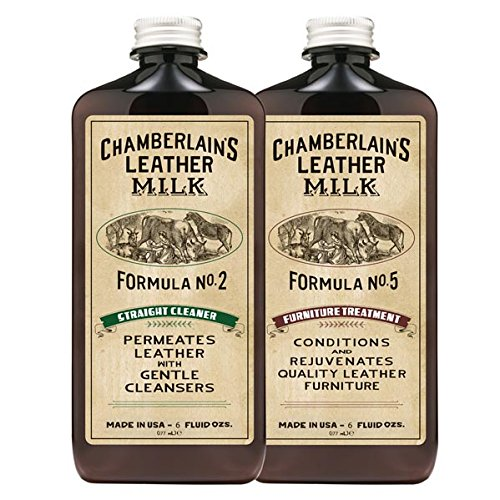 Leather Milk Leather Furniture Cleaner & Conditioner Kit (2 Bottle Furniture Care Set) - Straight Cleaner No. 2 + Furniture Treatment No. 5 - All Natural, Non-Toxic. Made in USA. W/ 2 Restoration Pads (Leather Conditioner Natural compare prices)