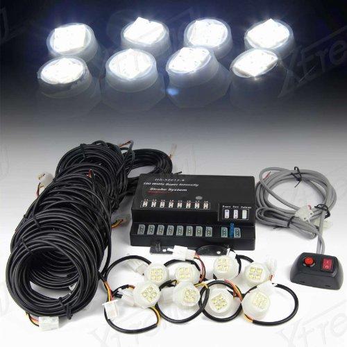 Xtreme® 160W 8 Led Bulbs Hide-A-Way Emergency Hazard Warning Strobe Lights - White