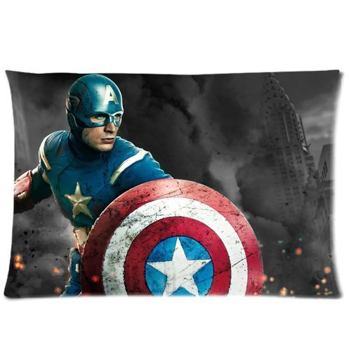 Generic Custom Superhero Series Cool Captain America Printed Zippered Pillowcase Cushion Cover 20*30(Twin Sides) front-1004501