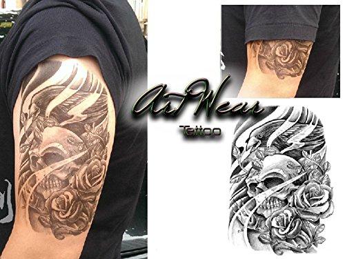"Tatuaggio Temporaneo Realistico di artista ""Skull Roses & Bird"" - ArtWear Tattoo Skull - B0103 M"