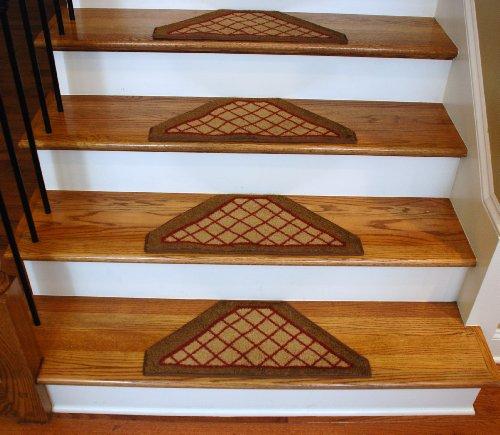 Washable Non-Skid Carpet Stair Treads - Beige Checkerboard Hexagon (13)