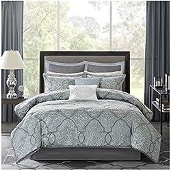 Madison Park MP10-1666 Lavine 12Piece Jacquard Comforter Set King , Blue , King,Blue,King