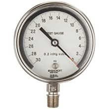 "Ashcroft 30 Test 3"" 316 Stainless Steel Vacuum Gauge -30/0 In/Hg"