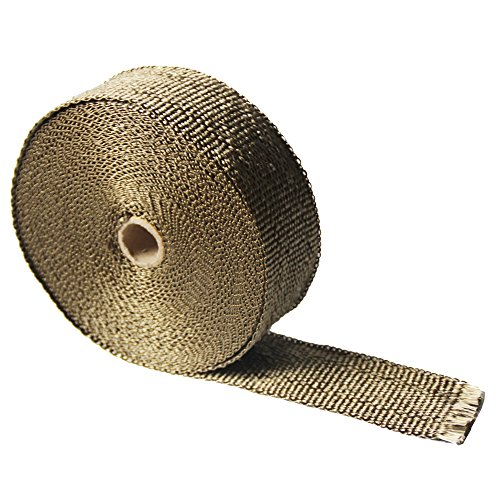 """LEDAUT 2"""" x 50' Titanium Exhaust Heat Wrap Roll for Motorcycle Fiberglass Heat Shield Tape with Stainless Ties 3"""