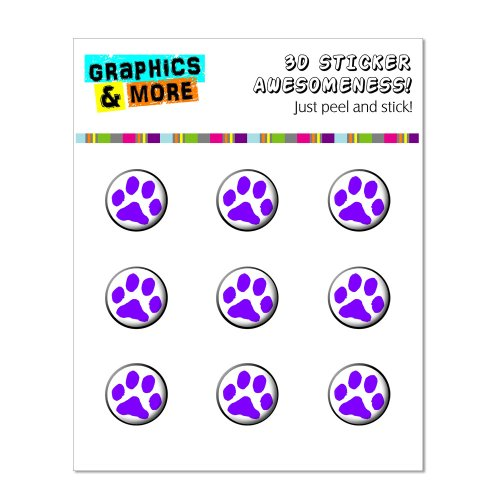 Graphics and More Paw Print Purple Home Button Stickers Fits Apple iPhone 4/4S/5/5C/5S, iPad, iPod Touch - Non-Retail Packaging - Clear - 1